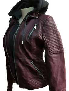 New women YMI outerwear burgandy fur lining synthetic leather hoodie jacket coat
