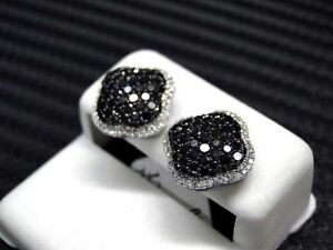 1.50Ct Round Cut Black Diamond Cluster Halo Stud Earrings 18K White Gold Finish