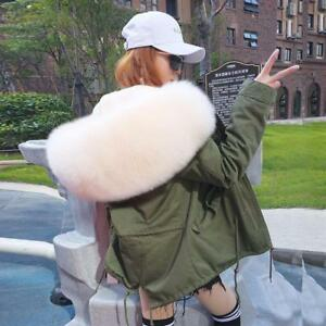 Real Large Fox Fur Collar Hooded Coat Women Cotton Short Parka Jacket D