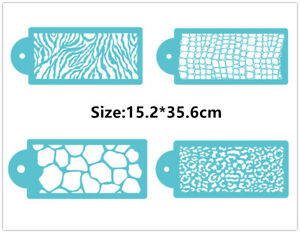 4 Pcs Packed Skin Grain Cookie Cake Stencil Decorate Mould Fondant Biscuit Tool