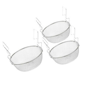 3 Sizes Round Stainless Steel Mesh Strainer Basket for Fried Food Vegetable
