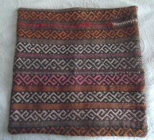 TURKISH KILIM RUG HAND WOVEN PILLOW COVER ORANGE BROWN 20
