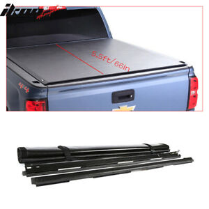 Fits 07-19 Toyota Tundra 5.5ft/66in Short Bed Black Vinyl Roll Up Tonneau Cover