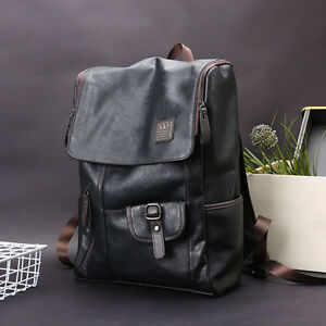 Men's Leather Backpack Shoulder Bag School Travel Pack Laptop Bag Weekender