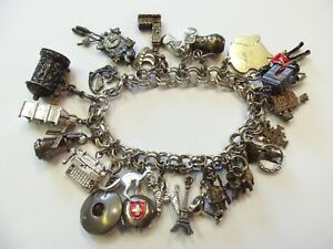 Vintage Sterling Silver Charm Bracelet Travel Clock Soldier Boat Movie Camera