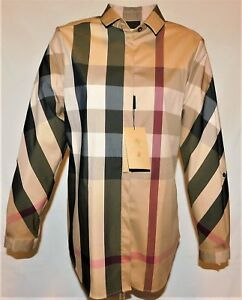 Burberry London Women's Long Sleeve Check Casual Shirt Camel