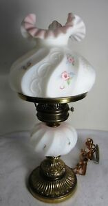 VTG FENTON PINK & WHITE SATIN GLASS LAMP HAND PAINTED FLOWERS SIGNED L EVERSON