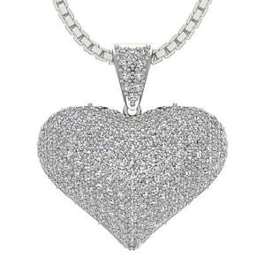 Heart Pendant Necklace SI1 G 1.30 Carat Natural Diamond 14K White Gold Pave Set