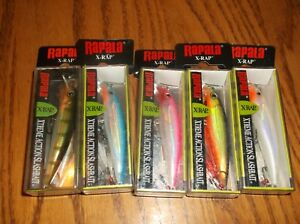 RAPALA X-RAP 06's== 5 DIFFERENT COLORED-FISHING LURES-XR06