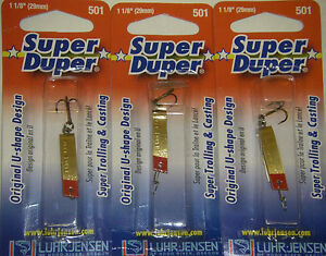 LUHR JENSEN SUPER DUPER TROUT FISHING LURES #1303-501-0131 BRASS REDHEAD 3 PK