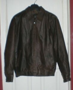 Haggar men's XL brown genuine leather jacket bomber flight style exc. condition