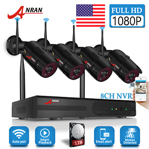 ANRAN Security Camera System Wireless 8CH 1080P 1TB HDD CCTV WIFI NVR Outdoor HD