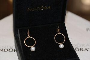NEW PANDORA 14K Yellow Gold Pearl Hoop Compose Earrings with 14K Hook RETIRED