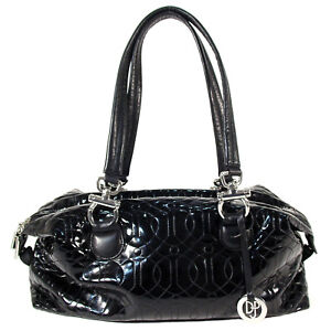 DJP Donald J Pliner Black Quilted Patent Leather Large Satchel Handbag