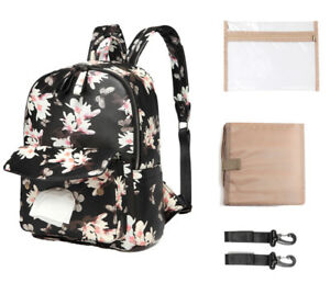 Fashion Print PU Leather Baby Diaper Bag Backpack+Changing Pad+Stroller Straps