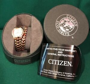 Citizen Eco-Drive Watch & Bracelet Set Rose Gold Silhouette Mother of Pearl Date
