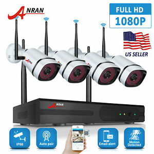 ANRAN Security Camera System Wireless 1080P 4CH 1TB Hard Drive Home NVR Outdoor