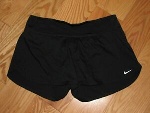 Nike Dri Fit  Solid Black Workoutrunning  Shorts Women's med EUC