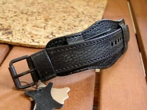 MILITARY WATCH BAND GENUINE LEATHER CUFF BRACELET STRAP 22mm BLACK