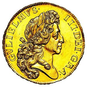 1701 King William III Great Britain Gold Fine Work Five 5 Guineas Coin