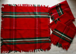 Holiday Red & Green Napkins Set of 4 NWT Hand Woven India
