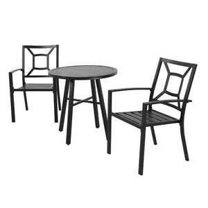Patio Garden Outdoor Dining Chairs Set of 3 All Weather Iron Metal Yard Chairs