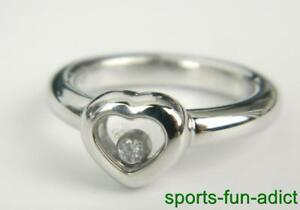 Chopard 18k White Gold Happy Diamonds Floating Diamond Heart Ring Size 5 $1950