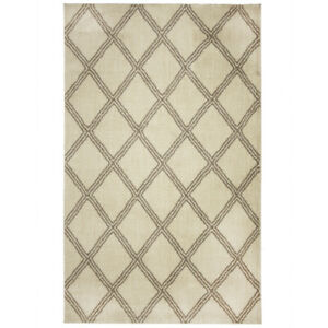 Mohawk Ivory Contemporary Crosshatch Diamond Area Rug Geometric 91416 83023