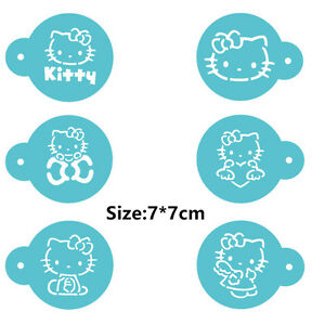 6 Pcs Packed Cat Cartoon Cookie Cake Stencil Decorate Mold Fondant Biscuit Tools