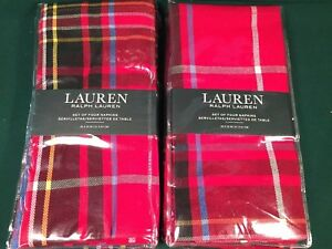 Set 8 Ralph Lauren BAKER PLAID RED NAPKINS Tartan Woven Cotton Poly blend