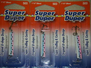 LUHR JENSEN SUPER DUPER TROUT FISHING LURES #1303-503-0314 RAINBOW TROUT 3 PK