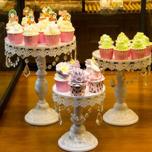 3pcs Iron +Crystal Cake Plate Cookies Stand for Weddings and Birthday Parties
