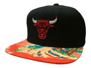 Chicago Bulls Mitchell & Ness Black Tropical Adj. Snapback Flat Bill Hat Cap