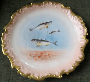 Bawo & Dotter Elite Works Limoges France Antique Hand Painted Fish Plate -1890's