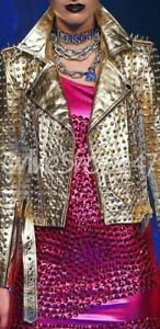 Discount Universe Woman Full Golden Silver Spiked Studded Biker Leather Jacket