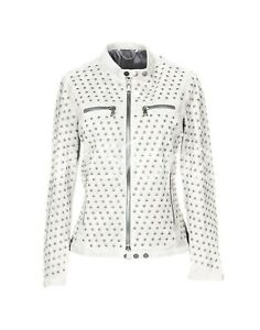 Discount Universe Woman White Full Silver Round Studded Biker Leather Jacket