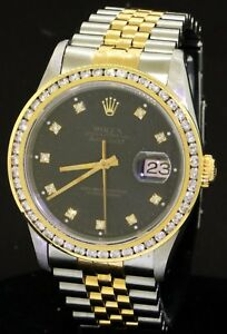 Rolex Datejust 16233 SS18K gold diamond tropical Black dial men's watch wB
