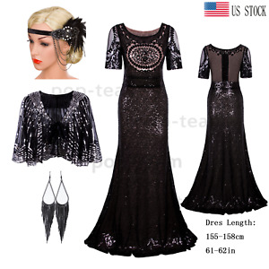 Cocktail 1920s Flapper Dress Gatsby Party Long Formal Evening Wedding Gowns