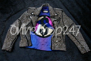 New Woman Discount Universe Full Silver Studded Punk Brando Biker Leather Jacket