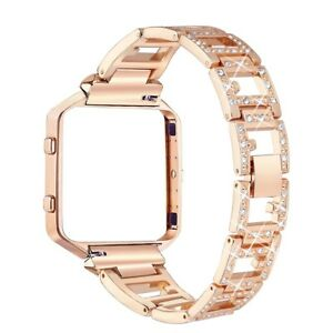bayite Metal Bands with Frame for Fitbit Blaze Rhinestone Bling Replacement Acce