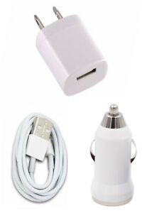 Wall Charging Charger Adapter 3FT USB Data Cable Car Charger for Phones Tablets