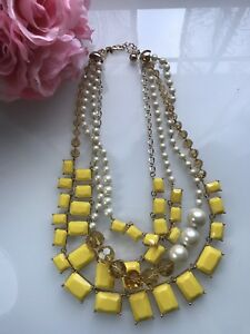 Kate Spade Treasure Chest Statement Necklace yellow Pearl Gift Wedding