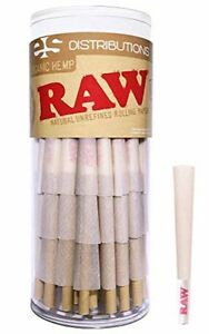 RAW Cones Organic  75 Pack  Pure Hemp Pre Rolled Papers with Tips Included