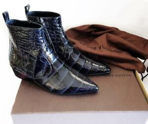 Louis Vuitton Midnight Blue Black 40 Crocodile Leather Boots BNIB RRP $22000