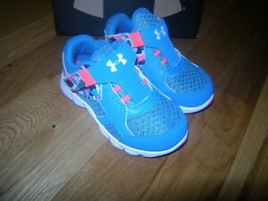 New Toddler Girls Blue & Pink Under Armour Thrill Tennis Shoes Size 6