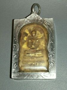 Thai Amulet Phra Somdej LP Toh Magic Powder Antique Case Safety Charm Rare Old