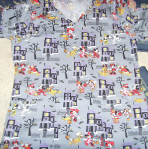 Disney Mickey and Minnie Mouse gray Halloween trick or treat scrub to