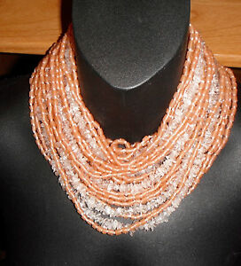bib necklace massive monies gerda lynggaard crystal quartz glass peach statement