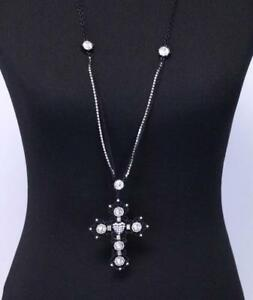 Betsey Johnson Long Black Cross Statement Necklace with Heart Jewelry Crystal