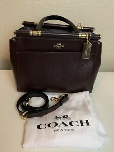 NWT Coach Brown Patent Crossgrain Leather Grace Handbag